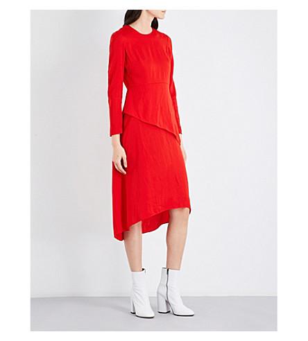 MAJE Remania panelled satin dress (Red