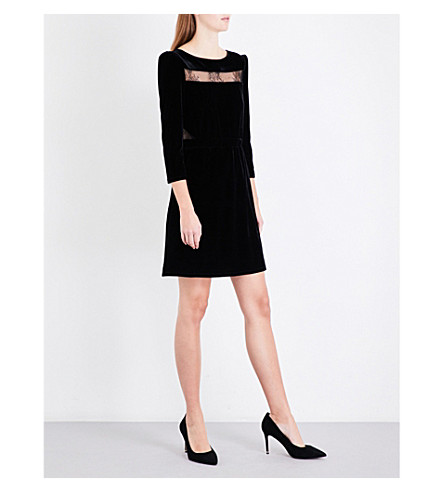 MAJE Remano lace-detail velvet dress (Black