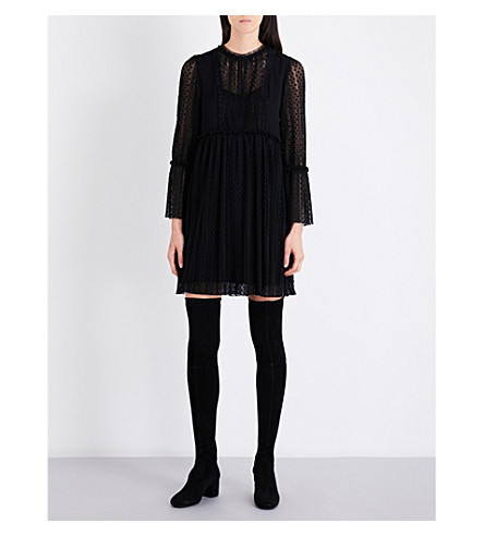 MAJE Rezane lace mini dress (Black+210