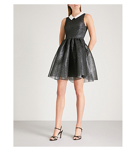 MAJE Detachable-collar metallic net dress (Grey