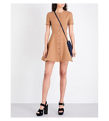 MAJE Rimello button-through cotton-blend dress (Camel