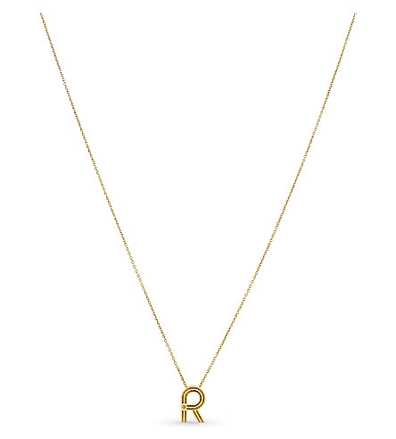 MAJE 'R' pendant necklace (Gold