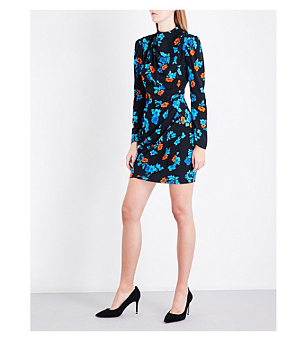 MAJE Ripita floral-print crepe dress (Multi-coloured