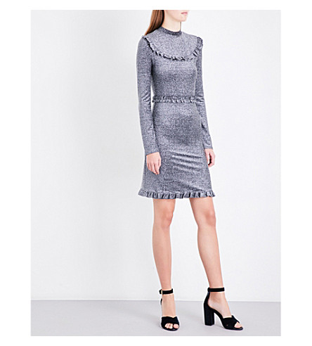 MAJE Rister metallic-knitted dress (Grey