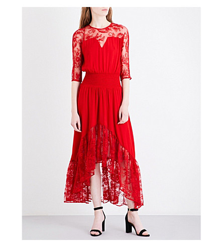 MAJE Ritema floral-panel chiffon and lace maxi dress (Red