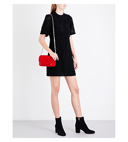 MAJE Rivina patterned velvet dress (Black