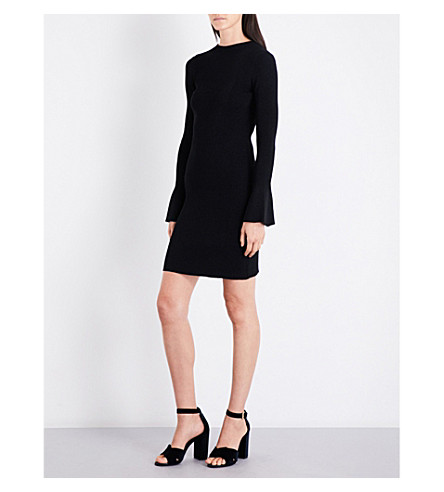 MAJE Robinson flared-cuff knitted dress (Black+210