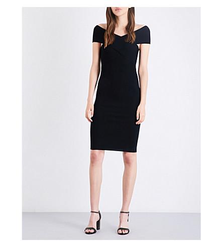MAJE 罗切斯特肩弹力针织礼服 (Black+210