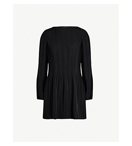 MAJE Rockin pleated crepe mini dress (Black