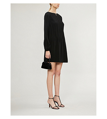 MAJE Rockin pleated crepe mini dress (Black