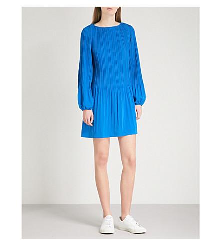 MAJE Rockin pleated crepe mini dress (Bleu