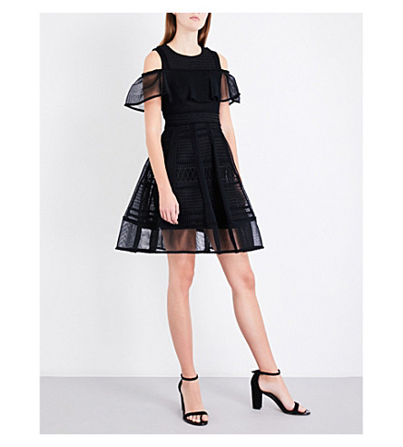 MAJE Rosalie embroidered mesh mini dress (Black