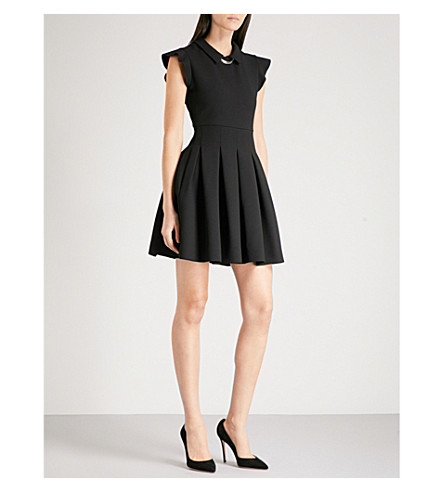 MAJE Rousta chain-trimmed pleated crepe mini dress (Black