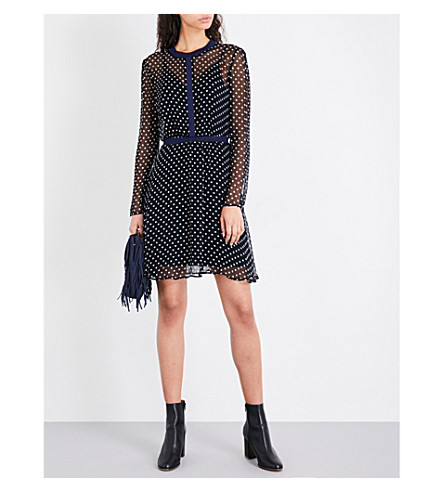 MAJE Royali polka-dot chiffon dress (Multi-coloured