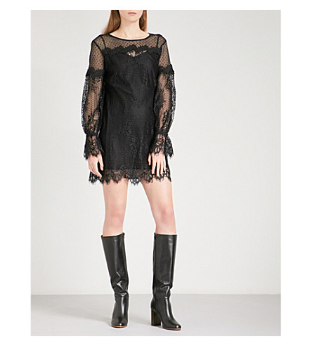 MAJE Roya floral-lace mini dress (Black+210