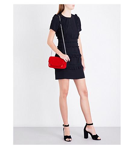 MAJE Ruya ruffled-trim crepe dress (Black