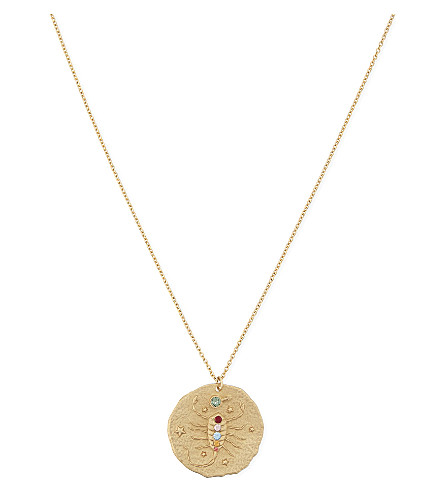 MAJE Scorpio brass coin necklace (Gold
