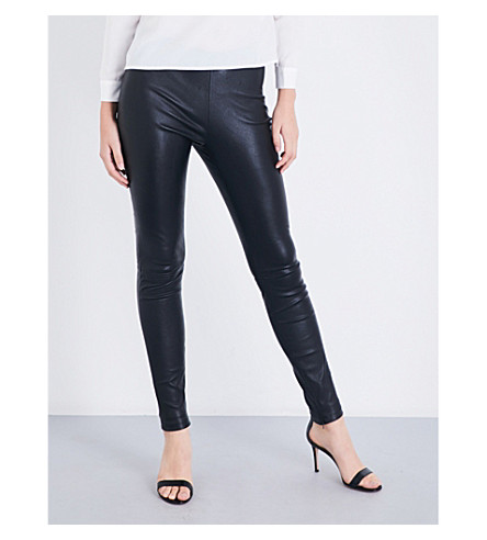 MAJE Smarto high-rise stretch-leather leggings (Black+210