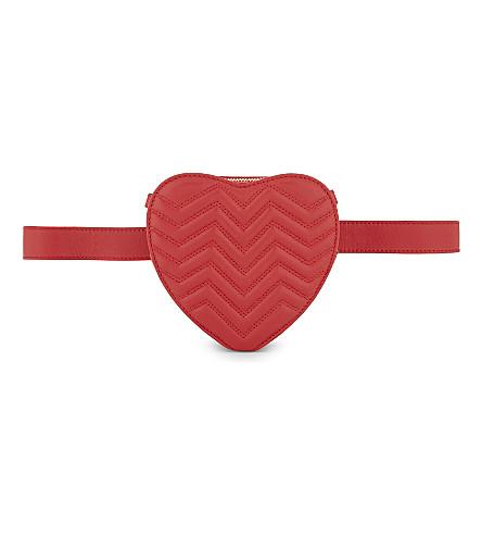 MAJE Heart leather waist bag (Red