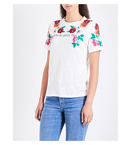 MAJE Tanisha floral-embroidered linen-jersey T-shirt (Ecru