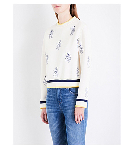 MAJE Tentation tiger-embroidered jersey sweatshirt (Cream