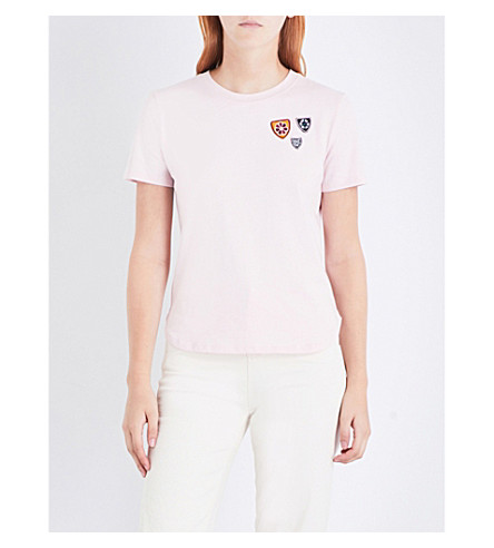MAJE Theodora patch-detail cotton-blend top (Pink