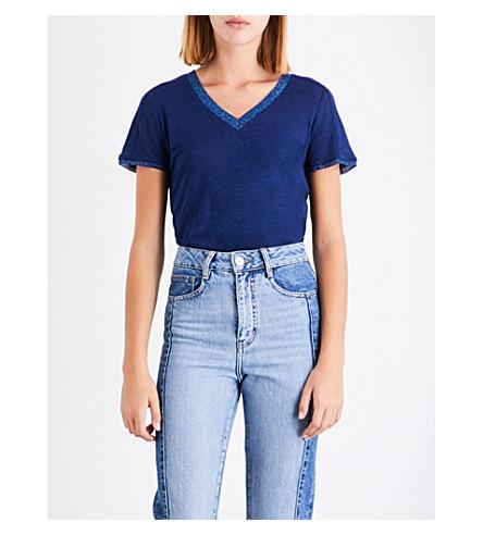 MAJE Tiare linen T-shirt (Blue