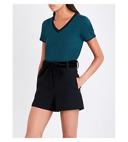MAJE Tiare linen T-shirt (Green