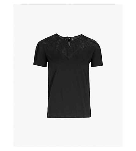 MAJE Tisane lace-trimmed jersey T-shirt (Black