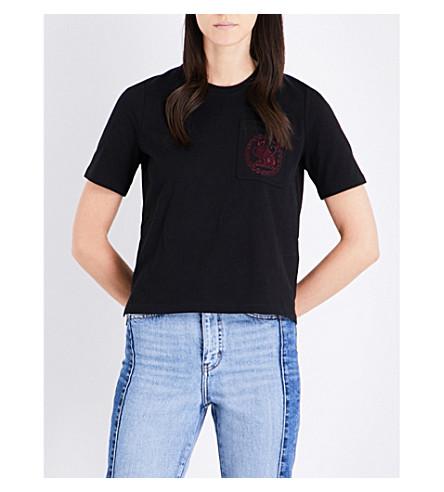 MAJE Cat-embroidrered cotton-jersey T-shirt (Black+210
