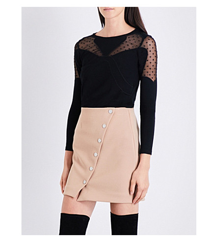 MAJE Toby polka-dot lace top (Black+210