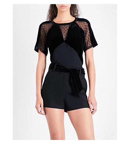 MAJE Tollia polka-dot mesh jersey T-shirt (Black+210