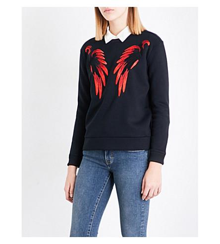 MAJE Tonnerre wing-embroidered neoprene sweatshirt (Rouge