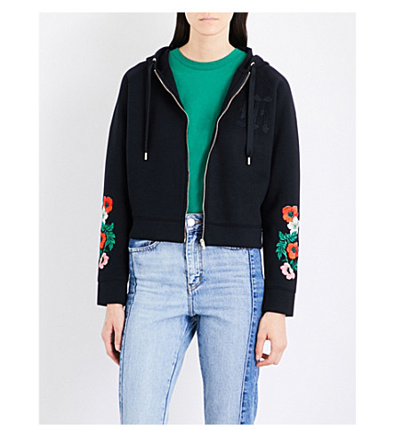 MAJE Toria embroidered jersey hoody (Black+210