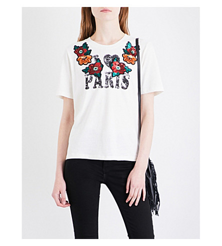 MAJE Toulous 'I heart Paris' cotton-jersey T-shirt (Ecru