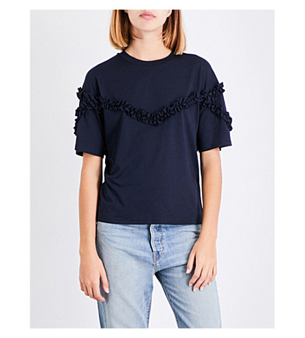MAJE Tournoi frilled-trim jersey T-shirt (Navy
