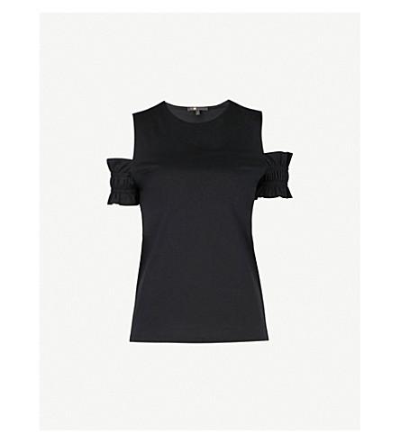 MAJE Trina cold-shoulder ruffled cotton-jersey top (Black