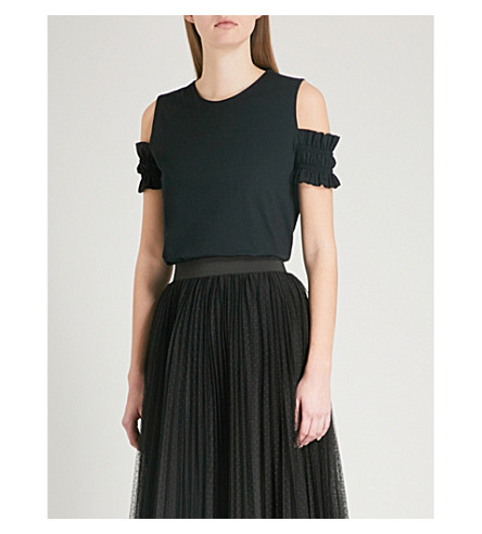 MAJE Trina cold-shoulder ruffled cotton-jersey top (Black