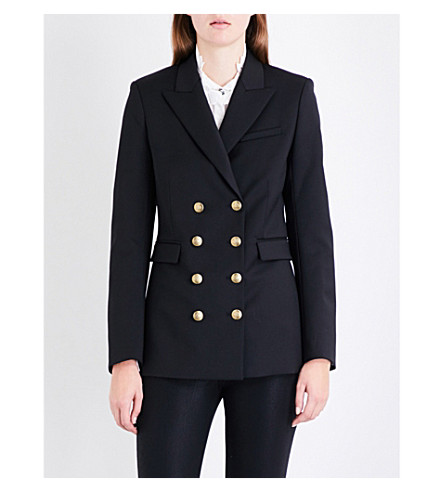 MAJE Vahina double-breasted twill jacket (Black