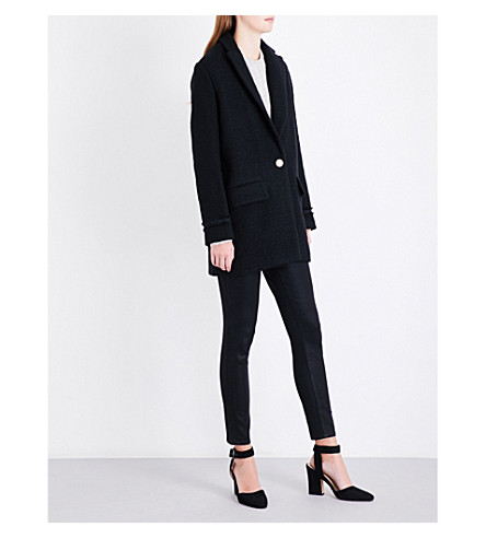MAJE Aiba textured wool-blend jacket (Black