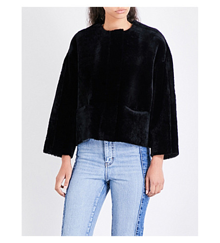 MAJE Veslain shearling jacket (Black+210