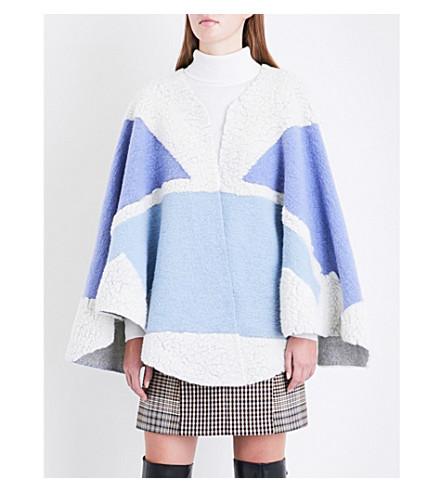 MAJE Block panel wool poncho (Blue