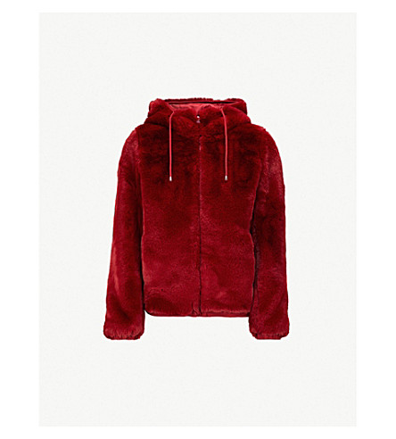 MAJE Hooded faux-fur jacket (Raspberry
