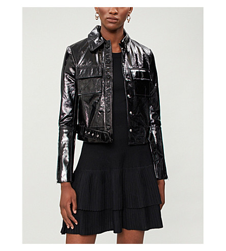 Liza cropped patent leather jacket(H18BLIZA)