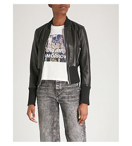 MAJE Bloti faux-leather bomber jacket (Black+210