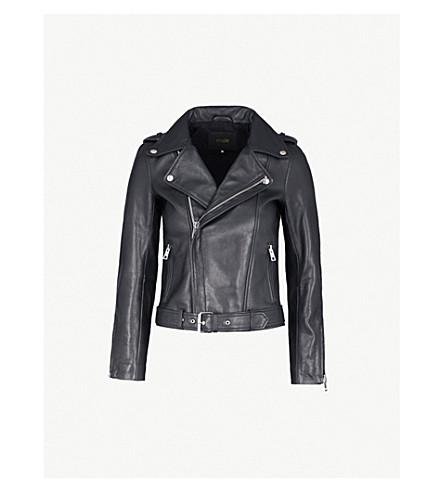 MAJE Celix lambskin leather biker jacket (Black