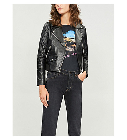 Borda ribbed-hem leather jacket(H18BORDA)