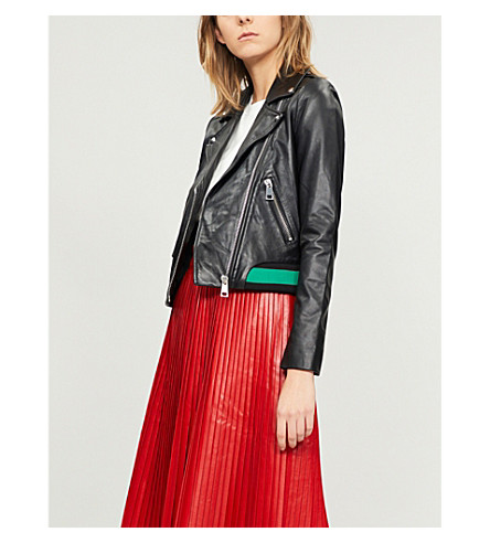 Contrast-trim leather biker jacket(H18BORDI)