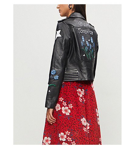 Dream Tomorrow embroidered leather jacket(H18BREAM)