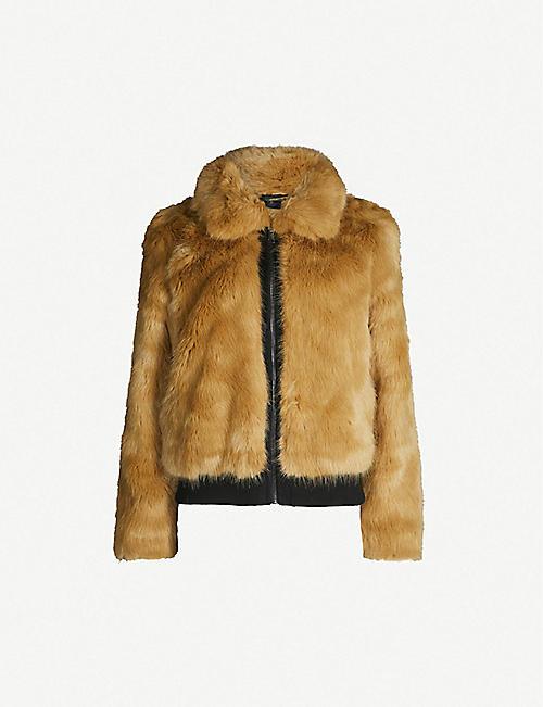 MAJE Brox cropped faux-fur jacket 2dfe2f9b5de0b